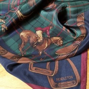 Pendleton Silk Scarf with Horses and Jockeys